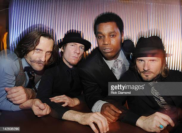 Richard Danielson Rick Barrio Dill Ty Taylor and Nalle Colt of Vintage Trouble pose for exclusive photo shoot after there performance at 3rd and...
