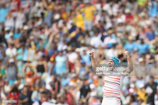 Richard De Carpentier of England celebrates victory during the semi final match between England and New Zealand in the 2017 HSBC Sydney Sevens at...