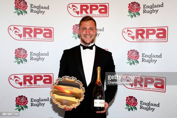 Richard de Carpentier poses with his Secure Trading Sevens Player of the Year award during the RPA Players' Awards 2017 at Battersea Evolution on May...