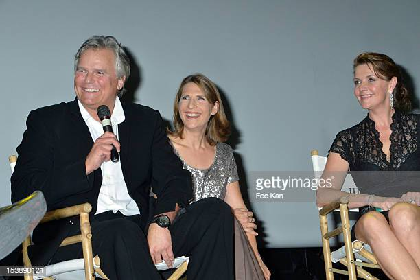 Richard Dean Anderson an interpreter and Amanda Tapping attend the Jules Vernes Awards 20th Anniversay Ceremony 'Tribute To Richard Dean Anderson' at...