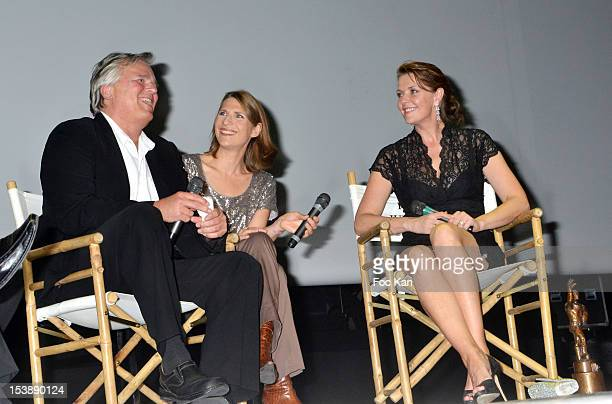 Richard Dean Anderson, an interpreter and Amanda Tapping attend the Jules Vernes Awards 20th Anniversay Ceremony - 'Tribute To Richard Dean Anderson'...