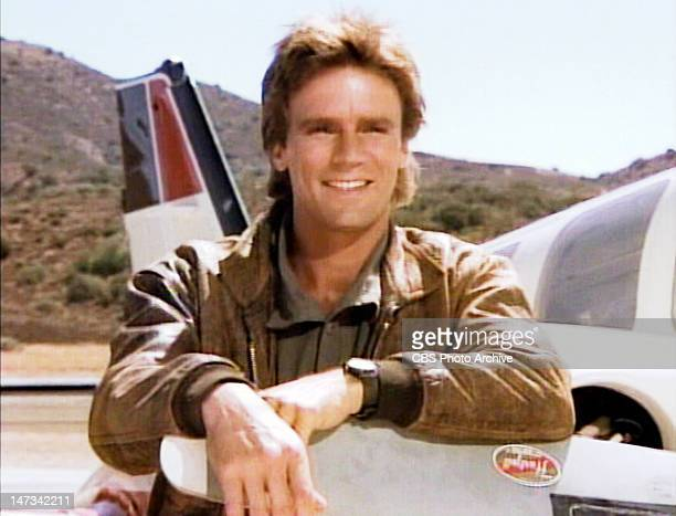 Richard Dean Anderson as MacGyver in the opening sequence of the action adventure television series MacGyver Image dated 1986 Image is a frame grab