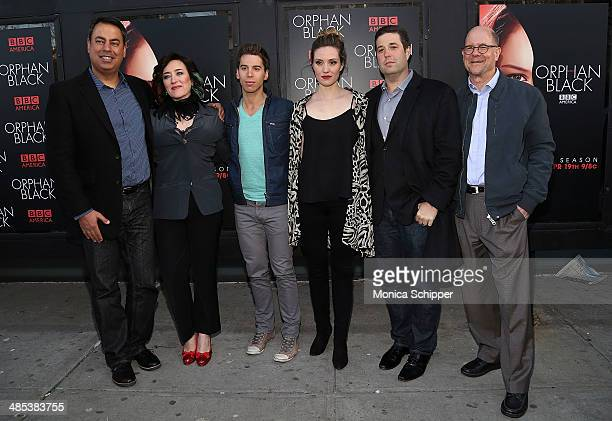 "Richard DeCroce, Maria Doyle Kennedy, Jordan Gavaris, Evelyne Brochu, Matthew Stein and Perry Simon attends the ""Orphan Black"" premiere at Sunshine..."