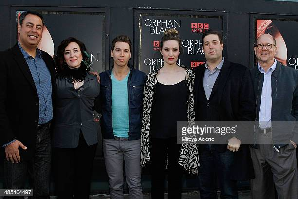 "Richard DeCroce, Maria Doyle Kennedy, Jordan Gavaris, Evelyne Brochu, Matthew Stein and Perry Simon attend the ""Orphan Black"" premiere at Sunshine..."