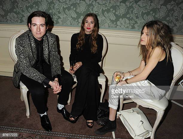 Richard Dennan, Anouska Beckwith and Rose Langley attend the Nancy Mitford 'Wigs on the Green' reissue party held by Catherine Ostler and the Dowager...