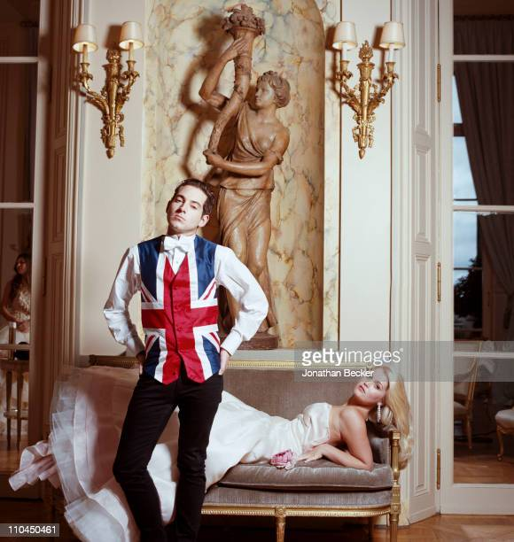 Richard Dennen and Lady Kitty Spencer are photographed at the Hotel Crillon for Tatler Magazine on November 28 2009 in Paris France Published image