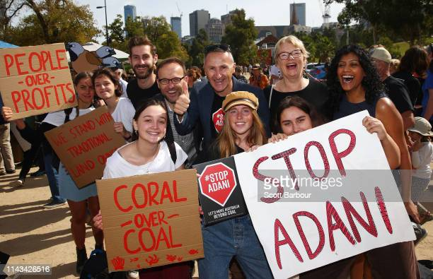 Richard Di Natale leader of the Australian Greens and Adam Bandt acting Deputy Leader of the Australian Greens pose with supporters as part of the...