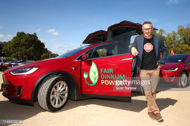 Richard Di Natale leader of the Australian Greens poses for a portrait next to an electric vehicle on April 18 2019 in Melbourne Australia Richard Di...