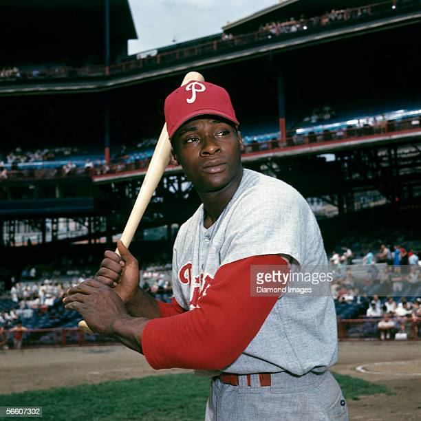 "Richard ""Dick"" Allen, of the Philadelphia Phillies, poses for a portrait prior a game in 1966 against the Cincinnati Reds at Crosley Field in..."