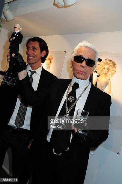 Richard Dickson from Mattel and Fashion Designer Karl Lagerfeld attend the Barbie 50th Anniversary Karl Lagerfeld Exhibition Preview Cocktail at...
