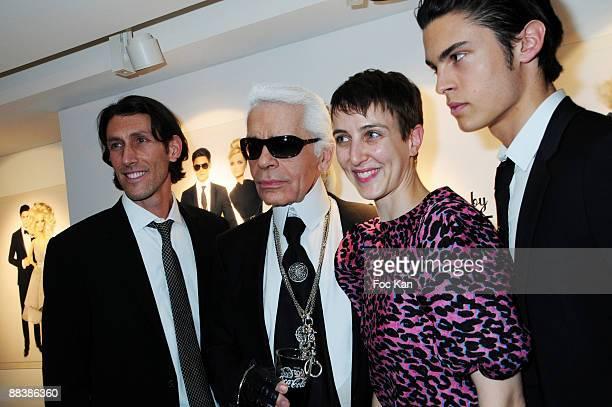 Richard Dickson from Mattel Fashion Designer Karl LagerfeldSarah Colette and Top Model Baptiste Giabiconi attend the Barbie 50th Anniversary Karl...