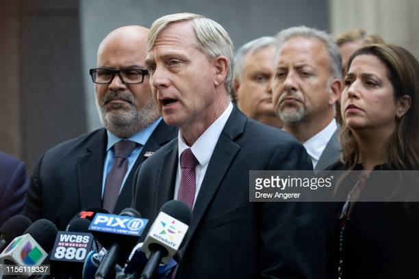 """Richard Donoghue, U.S. Attorney for the Eastern District of New York, speaks to the press following the sentencing hearing for Joaquin """"El Chapo""""..."""