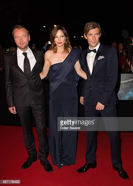 Richard Dormer Sienna Guillory and Luke Treadaway attend the opening red carpet party MIPCOM 2014 at Hotel Martinez on October 13 2014 in Cannes...