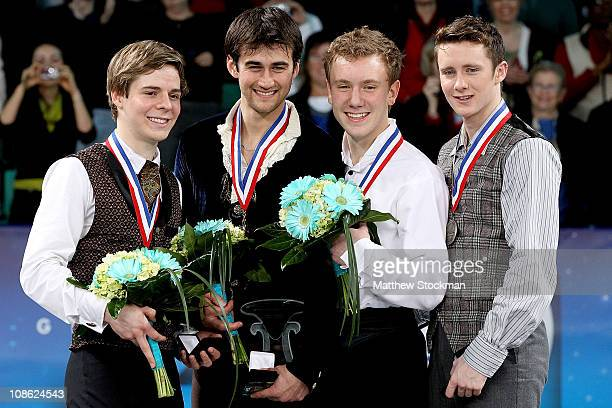 Richard Dornbush Ryan Bradley Ross Miner Jeremy Abbott pose for photographers on the medals podium after the Championship Mens competition during the...