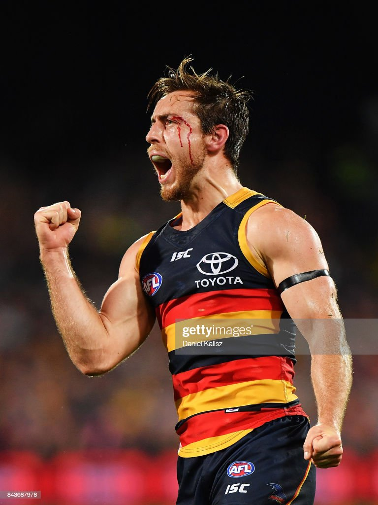 Richard Douglas of the Crows reacts after kicking a goal during the AFL First Qualifying Final match between the Adelaide Crows and the Greater Western Sydney Giants at Adelaide Oval on September 7, 2017 in Adelaide, Australia.