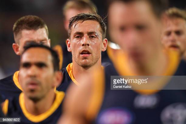 Richard Douglas of the Crows runs from the field at half time during the round four AFL match between the Adelaide Crows and the Collingwood Magpies...