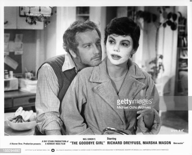 Richard Dreyfuss leaning up on Marsha Mason in a scene from the film 'The Goodbye Girl', 1977.