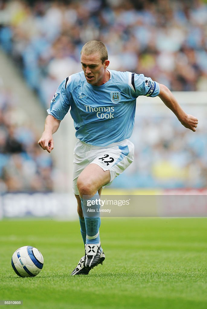 Richard Dunne of Manchester City in action during the Barclays Premiership match between Manchester City and Portsmouth at the City of Manchester Stadium on August 27, 2005 in Manchester, England.