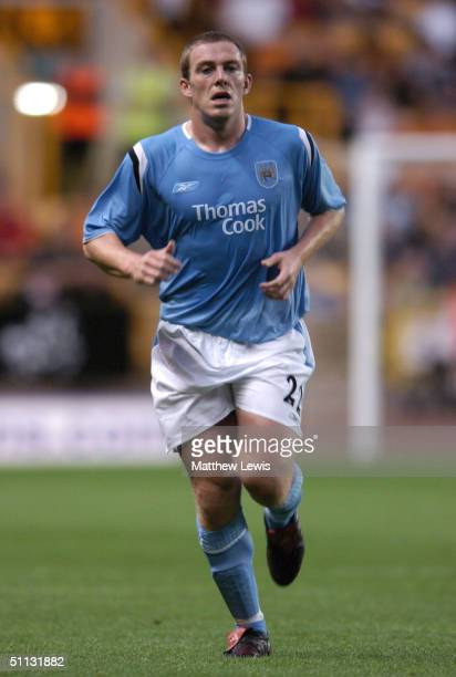 Richard Dunne of Manchester City is shown in action during a preseason match against the Wolverhampton Wanderers at Molineux Stadium on July 30 2004...