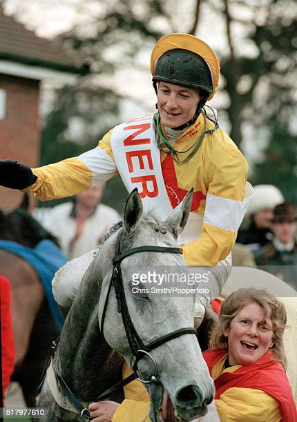Richard Dunwoody, riding One Man, after their victory in the re-scheduled King George VI Steeplechase at Sandown Park, 20th January 1996. The...