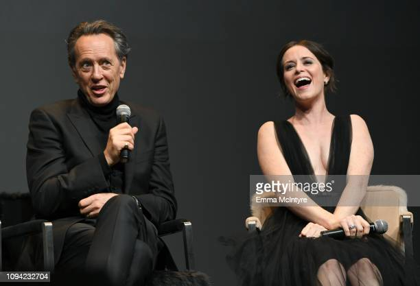 Richard E. Grant and Claire Foy speak onstage at the Virtuosos Award Presented By UGG during the 34th Santa Barbara International Film Festival at...