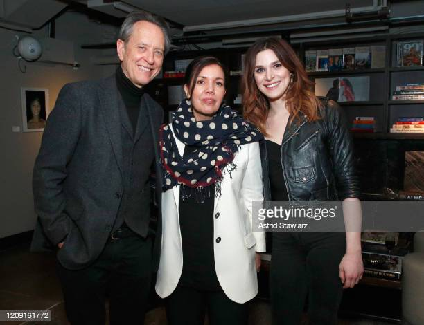 Richard E Grant President of AMC Networks Sarah Barnett and Eve Lindley attend IFC Dispatches From Elsewhere screening In NYC on February 27 2020 in...