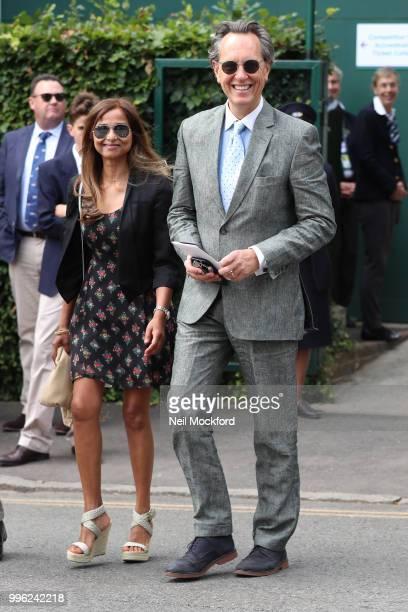 Richard E Grant seen arriving on day nine of the Wimbledon Lawn Tennis Championships at All England Lawn Tennis and Croquet Club on July 11 2018 in...