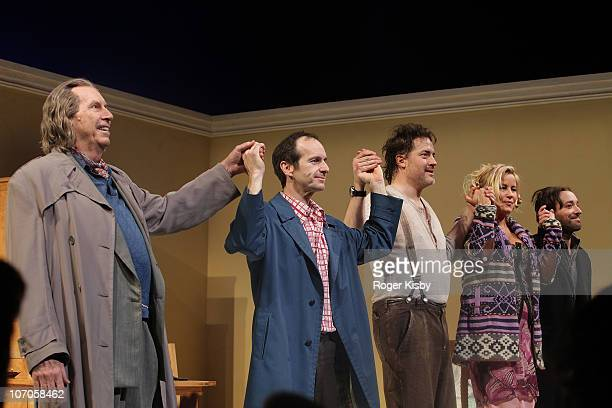 Richard Easton Denis O'Hare Brendan Fraser Jennifer Coolidge and Jeremy Shamos performs onstage at the Broadway opening night of Elling at the Ethel...