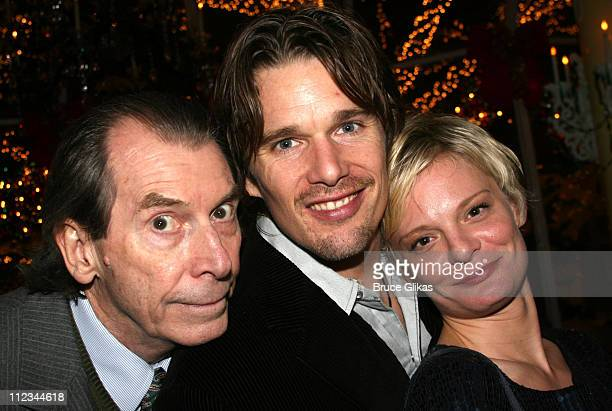 Richard Easton Ethan Hawke and Martha Plimpton during Opening Night of Tom Stoppard's 'The Coast of Utopia Voyage' at Tavern On The Green in New York...