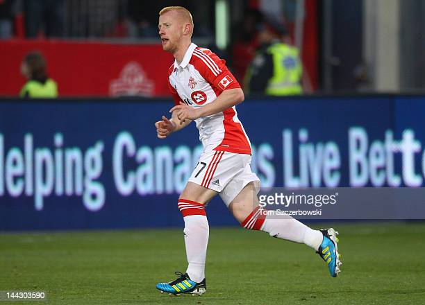 Richard Eckersley of Toronto FC in action against the Montreal Impact in the finals of the Amway Canadian Championship on May 9 2012 at BMO Field in...