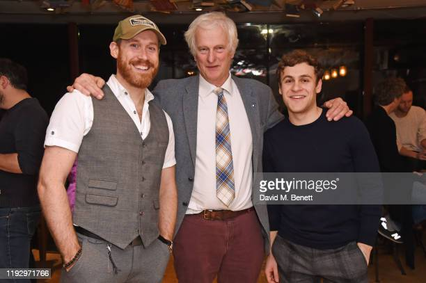 RIchard Ede Jonathan Shackleton and Elliott Ross attend the press night after party for Shackleton And His Stowaway at The Park Theatre on January 10...