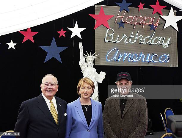Richard Egan US Ambassador to Ireland President of Ireland Mary McAleese and Neil Diamond at the entrance to the party tent for America's 226th...