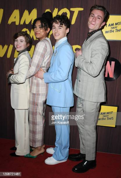 Richard Ellis Sophia Lillis Sofia Bryant and Wyatt Oleff attend Netflix's I Am Not Okay With This Photocall at The London West Hollywood on February...
