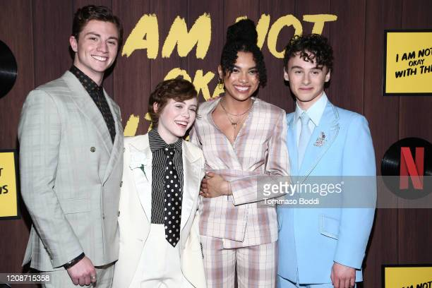 Richard Ellis Sophia Lillis Sofia Bryant and Wyatt Oleff attend the Netflix's I Am Not Okay With This Photocall at The London West Hollywood on...