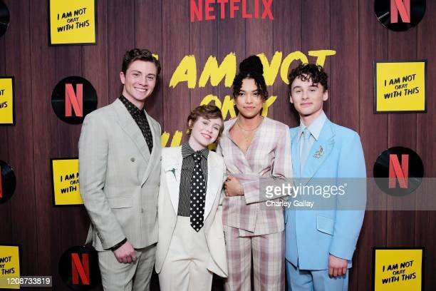 Richard Ellis Sophia Lillis Sofia Bryant and Wyatt Oleff attend the premiere of Netflix's I Am Not Okay With This at The London West Hollywood on...