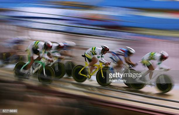 Richard England, Sean Finning, Matthew Goss, Miles Olman of Australia pass Team Russia on their way to Bronze in the mens team pursuit during day two...