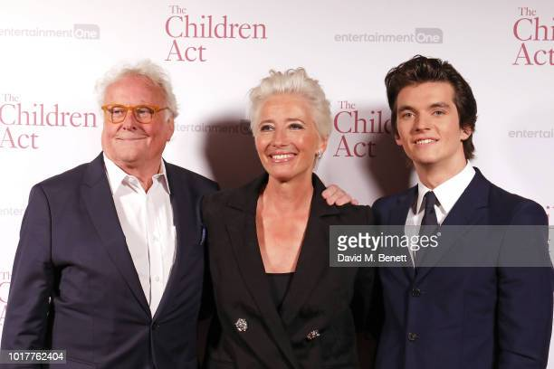 """Richard Eyre, Emma Thompson and Fionn Whitehead attend the UK Premiere of """"The Children Act"""" at The Curzon Mayfair on August 16, 2018 in London,..."""