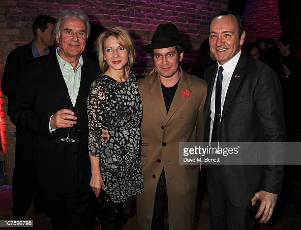Richard Eyre Lisa Dillon Tom Hollander and Kevin Spacey attend the afterparty following the press night of 'A Flea In Her Ear' at Vinopolis on...