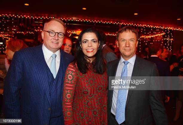 Richard Farley Chele Farley and Andrew Roosevelt attend George Farias Anne Jay McInerney Host A Holiday Party at The Doubles Club on December 13 2018...