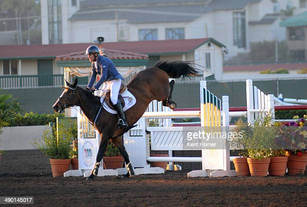 Richard Fellers in action riding on Colgan Cruise in the Speed Derby at the Grand Prix of Del Mar during Hunter/Jumper week of the 69th Annual Del...