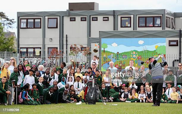 Richard Finch of England hits some shots in front of pupils and teachers during a visit to Celbridge St Patrick's National School as a preview to The...