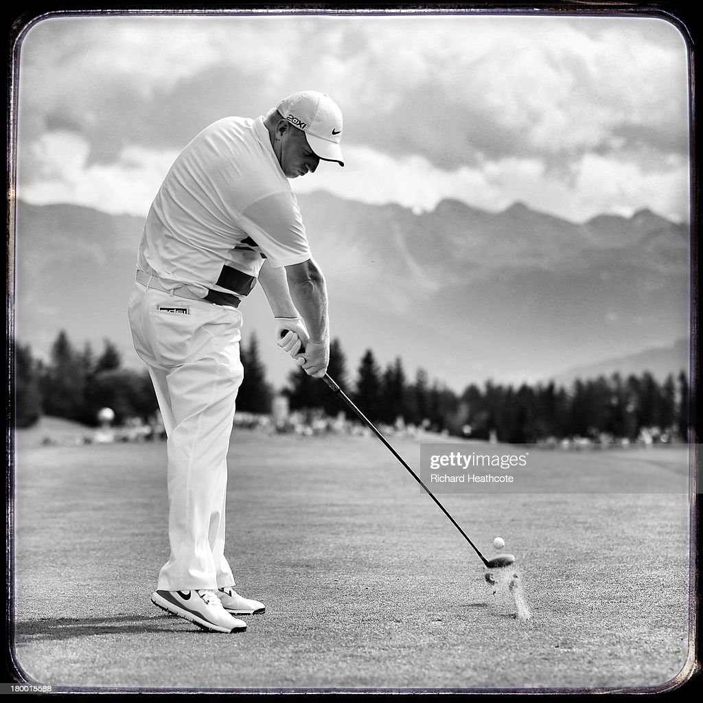 Richard Finch of England in action during the third round of the Omega European Masters at the Crans-sur-Sierre Golf Club on September 7, 2013 in Crans, Switzerland.