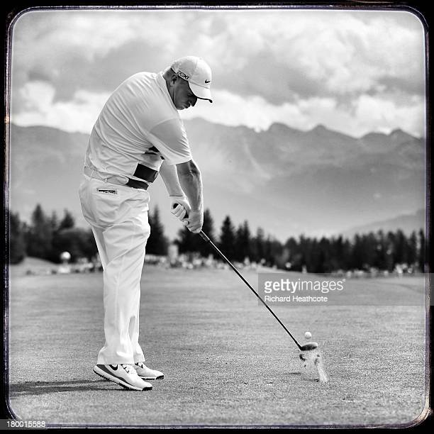 Richard Finch of England in action during the third round of the Omega European Masters at the Crans-sur-Sierre Golf Club on September 7, 2013 in...