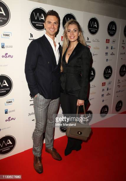 Richard Fleeshman and Celinde Schoenmaker attend the WhatsOnStage Awards at Prince Of Wales Theatre on March 03 2019 in London England