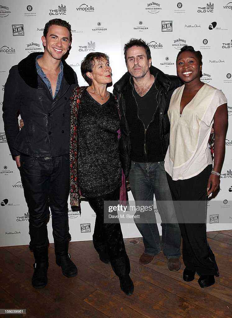 Richard Fleeshman, Celia Imrie, Con O'Neill and Cynthia Erivo attend an after party celebrating the 24 Hour Musicals Gala Performance at Vinopolis on December 9, 2012 in London, England.