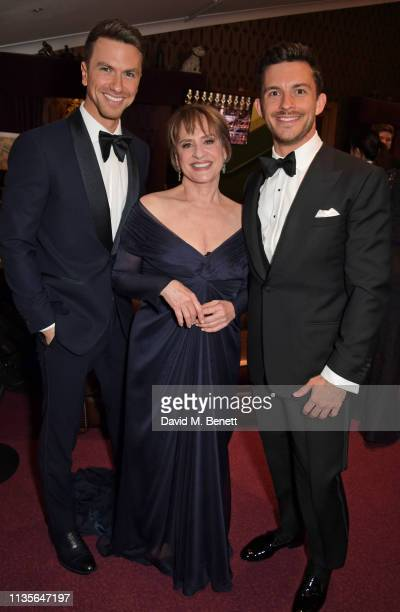 Richard Fleeshman Patti LuPone and Jonathan Bailey attend The Olivier Awards 2019 with Mastercard at The Royal Albert Hall on April 7 2019 in London...