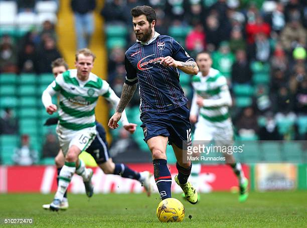 Richard Foster of Ross County in action during the Ladbrokes Scottish Premiership match between Celtic and Ross County at Celtic Park Stadium on...