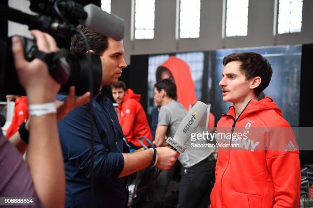 Richard Freitag gives an interview to a tv crew during the 2018 PyeongChang Olympic Games German Team kit handover at Postpalast on January 22 2018...