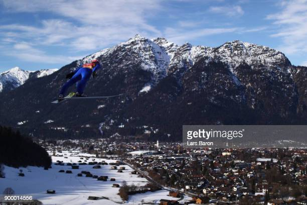 Richard Freitag of Germany competes in the FIS Nordic World Cup Four Hills Tournament on December 31 2017 in GarmischPartenkirchen Germany