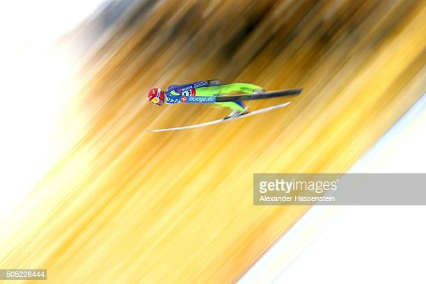 Richard Freitag of Germany competes in the trail round of the FIS Ski Flying World Championship 2016 during day 3 at the Kulm on January 16 2016 in...